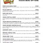 Taco Mamacita's Vegan Menu