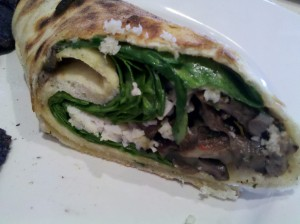 Brixx Wild Mushroom Wrap with Follow Your Heart cheese and no sun-dried tomato aioli