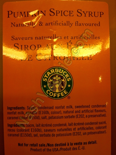 Starbucks Pumpkin Spice Syrup Ingredients