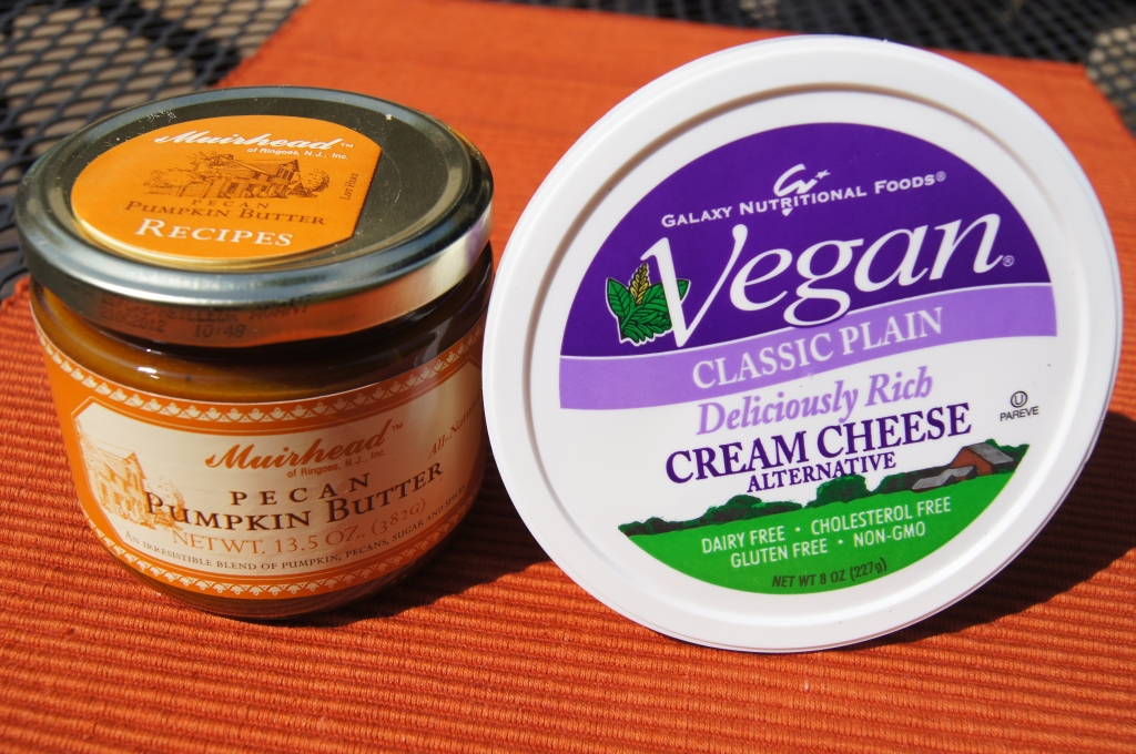 Williams-Sonoma Pecan Pumpkin Butter and Galaxy Nutritional Foods Vegan Plain Cream Cheese