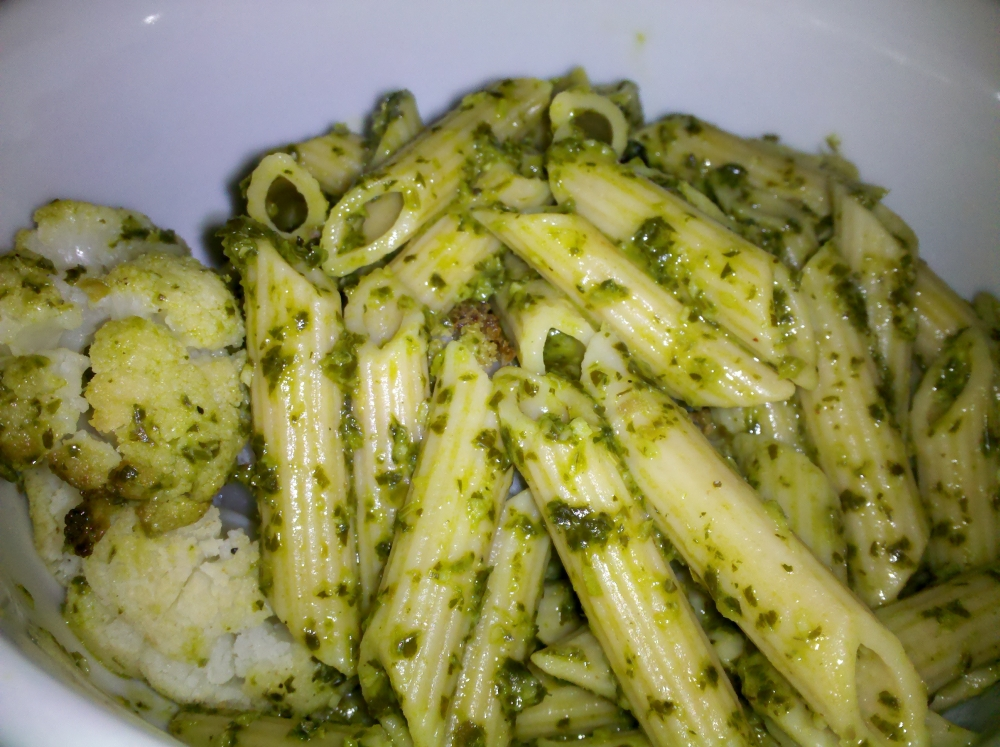 My Veggie Chef Pasta with Caramelized Cauliflower and Parsley Pesto