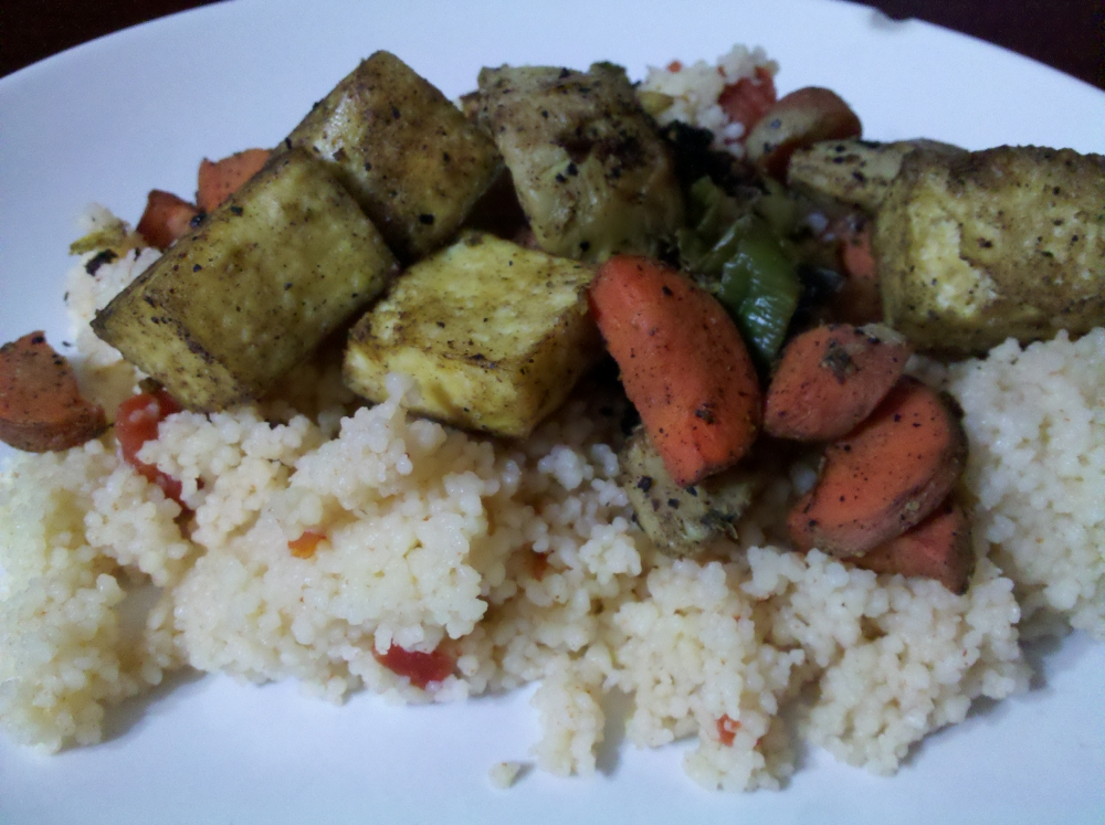 My Veggie Chef Tofu with Veggies over Tomato Couscous
