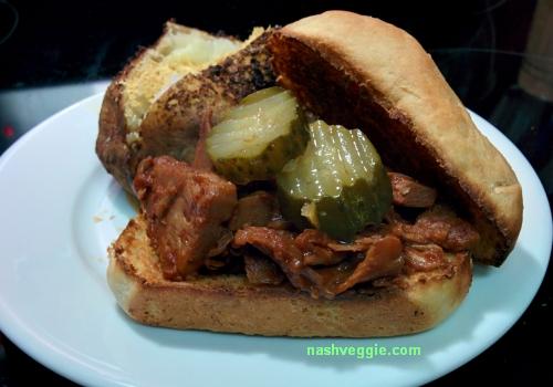 Upton's Naturals BBQ Jackfruit sandwich - Nashveggie - Vegan and Vegetarian in Nashville